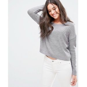 Brave Soul Round Neck Marled Taupe Cropped Sweater